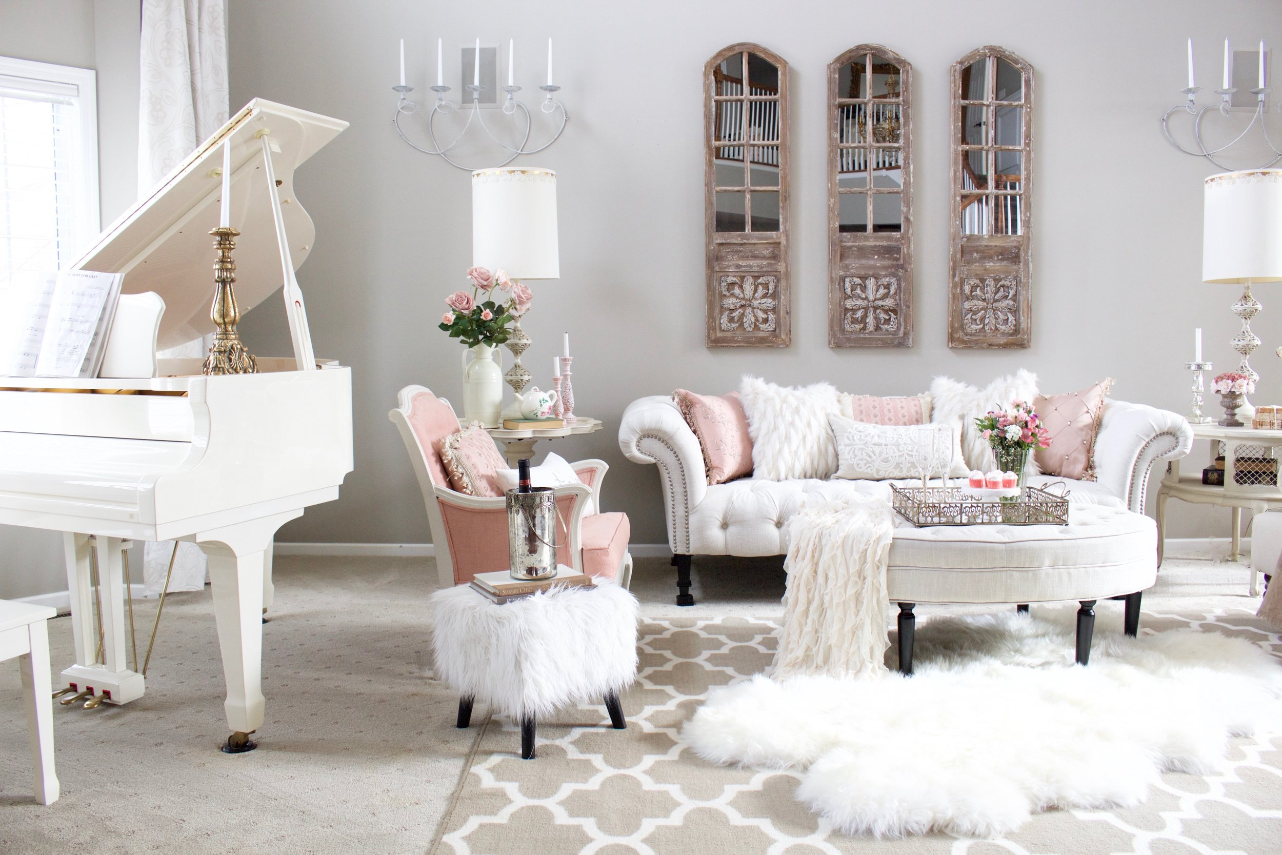 Romantic Blush Pink Living Room Valentines Day Decor Styled With Lace