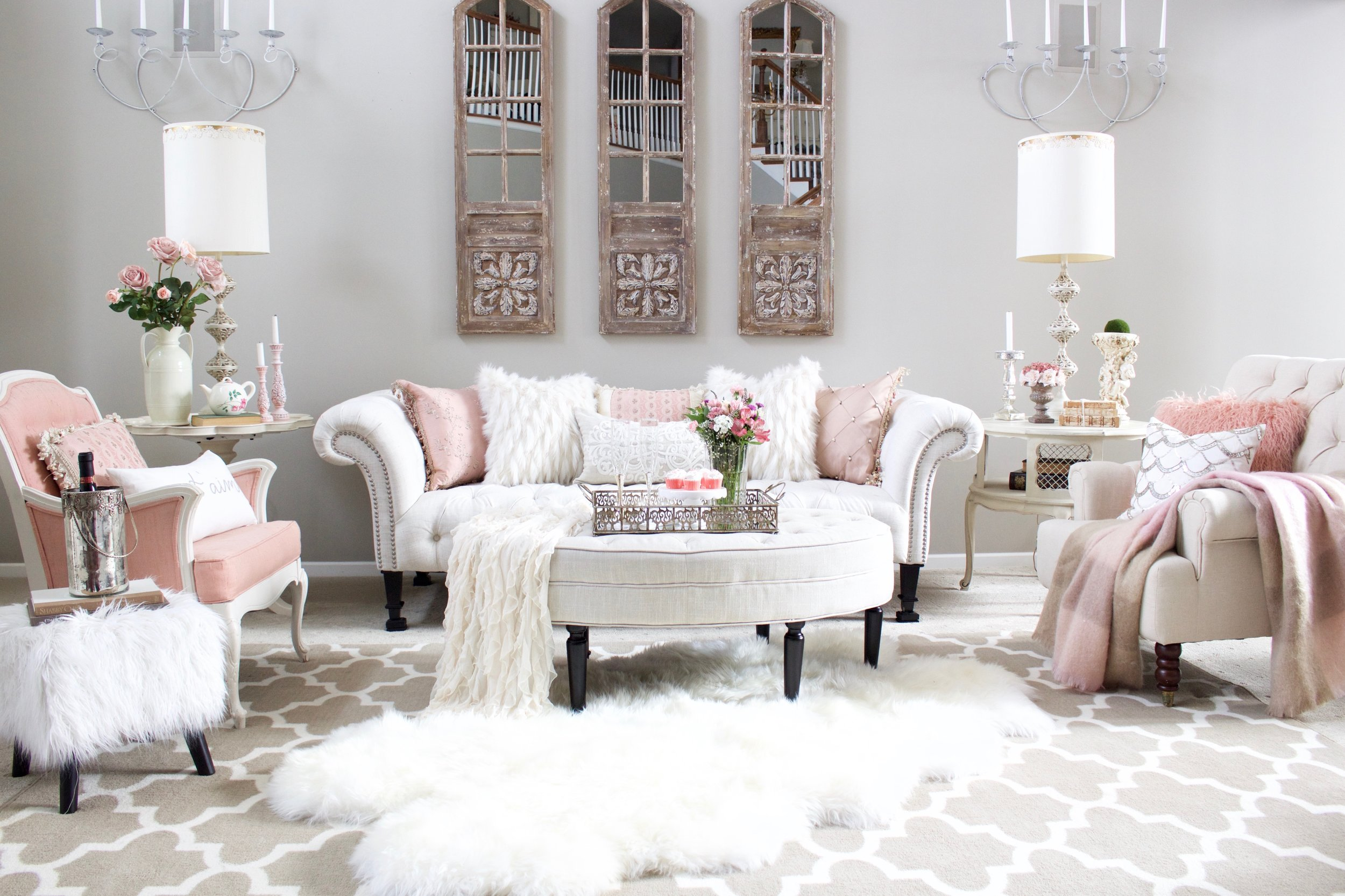 Romantic Blush Pink Living Room Valentines Day Decor Styled