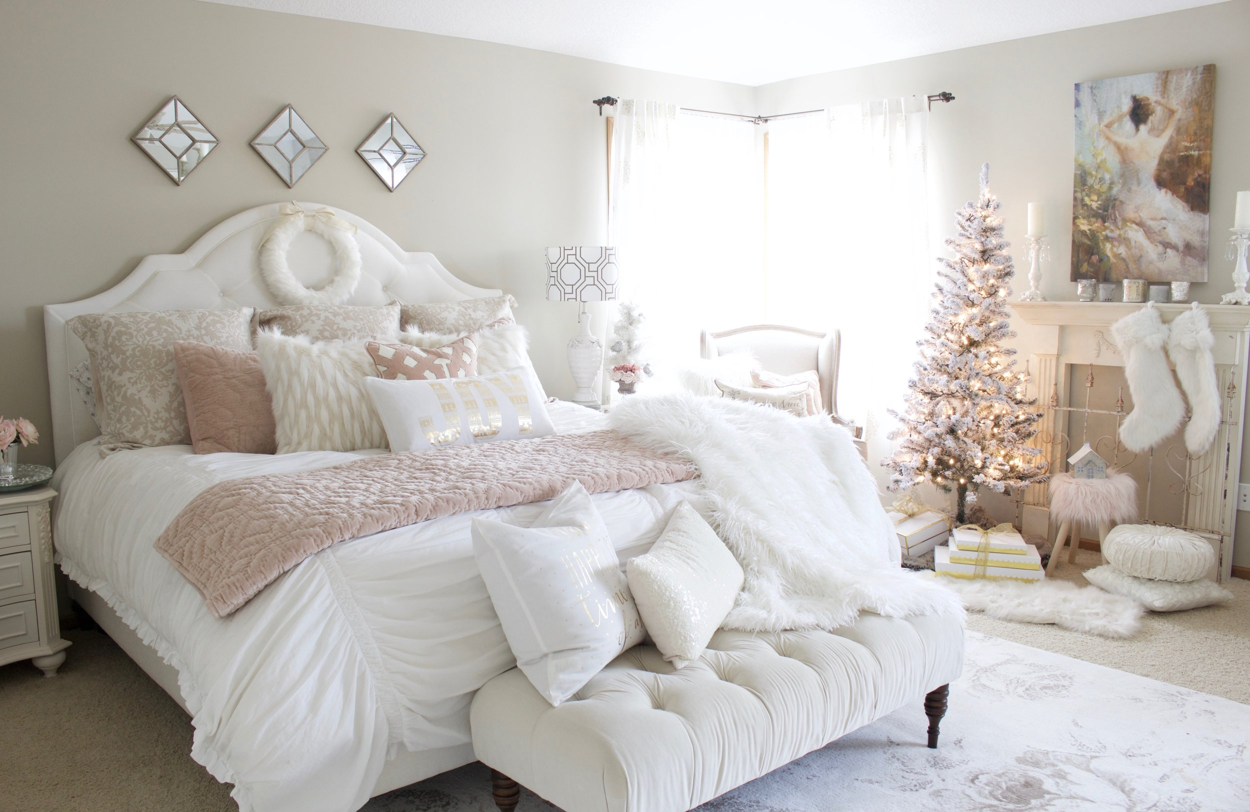 Today We Are Sharing My Master Bedroom Decorated For Christmas With A French Vibe And Touch Of Blush Pink You Can Check Out More Our Rooms