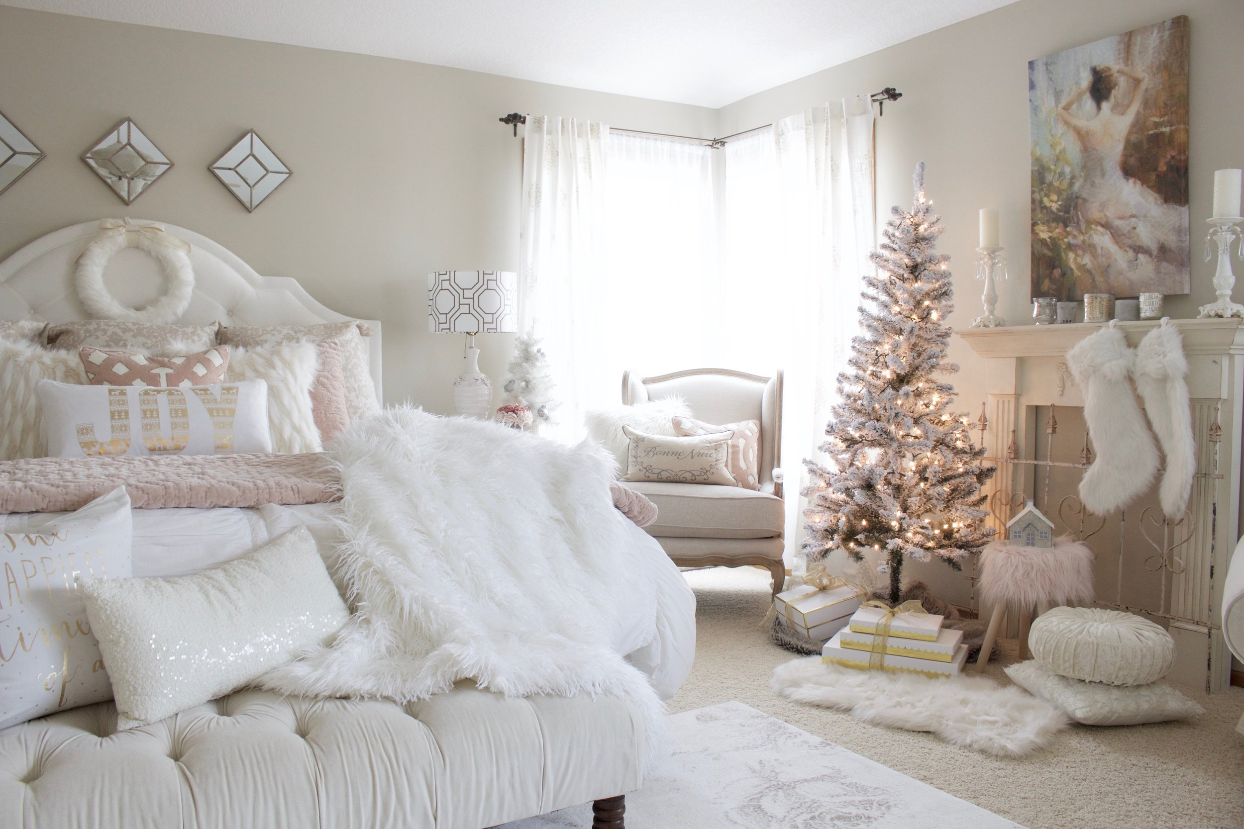 Home For Christmas - A Blush Pink Bedroom - Styled With Lace
