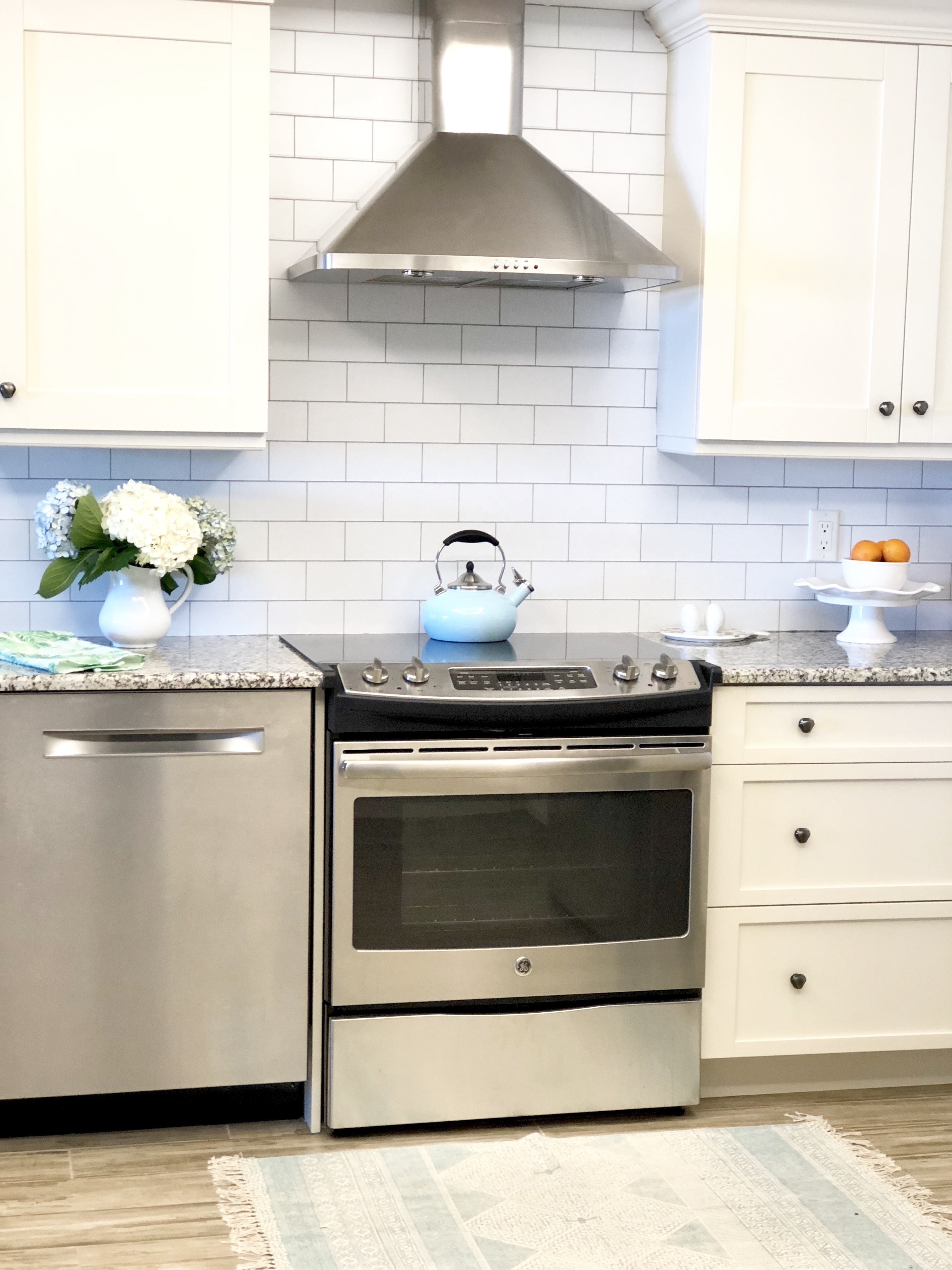 Every Who Comes In Here Thinks It Is Real Subway Tile Has Brightened Up The Kitchen So Much And For Under 100 We Got A Fresh Clean Updated Look