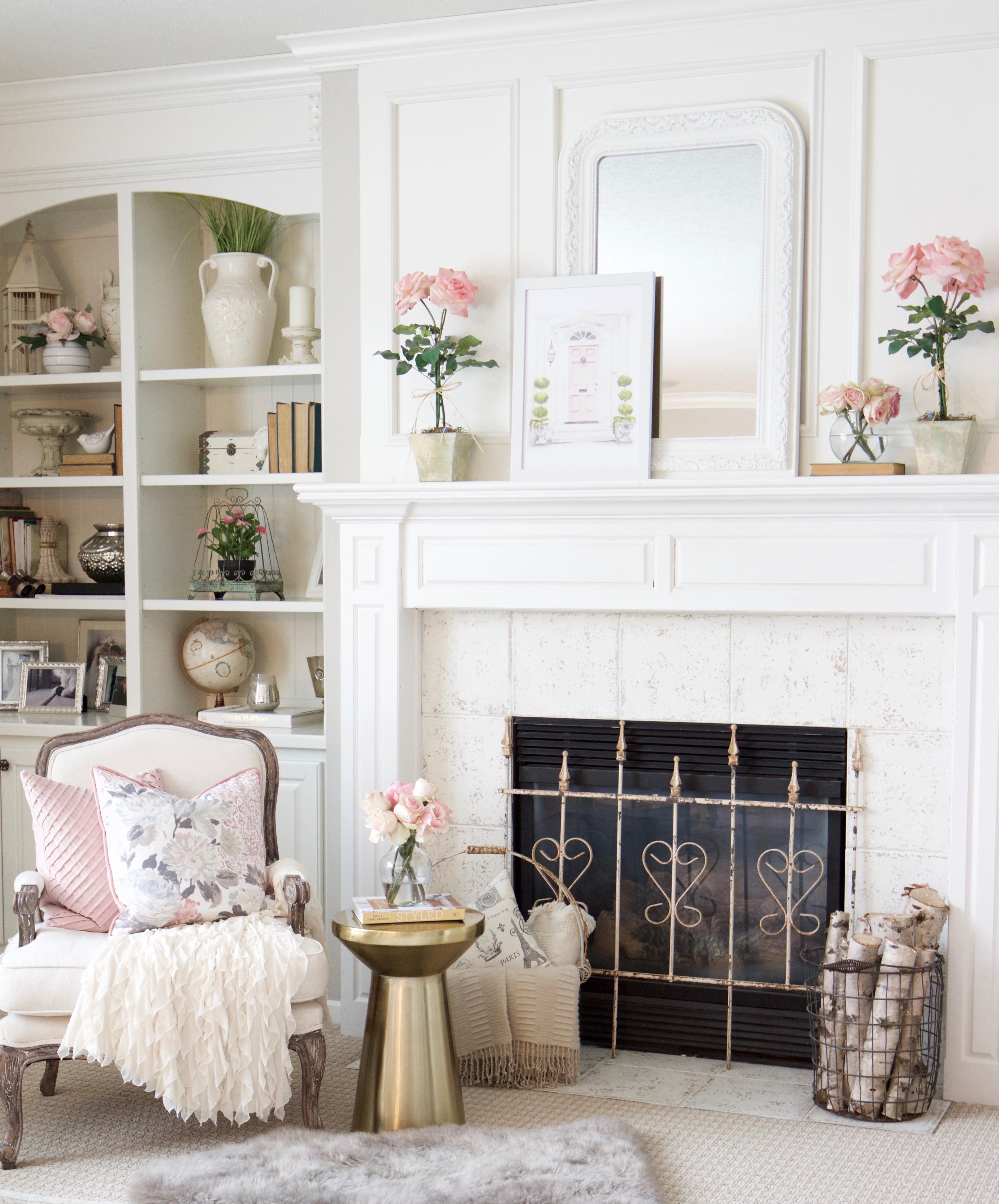 Spring Into Summer Mantel Decor Styled With Lace