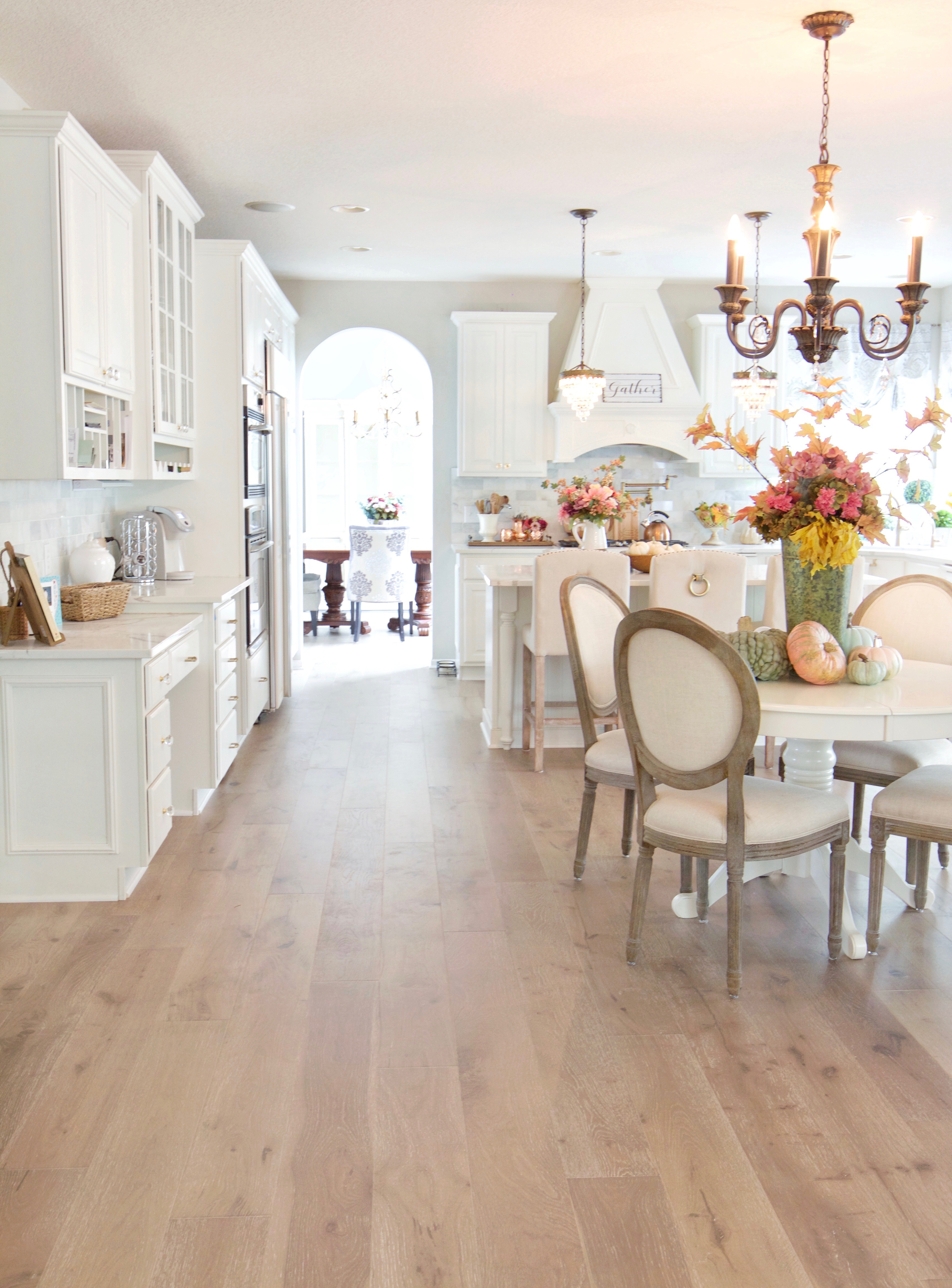 New Wood Flooring Reveal in the Kitchen and Sunroom   Styled With Lace