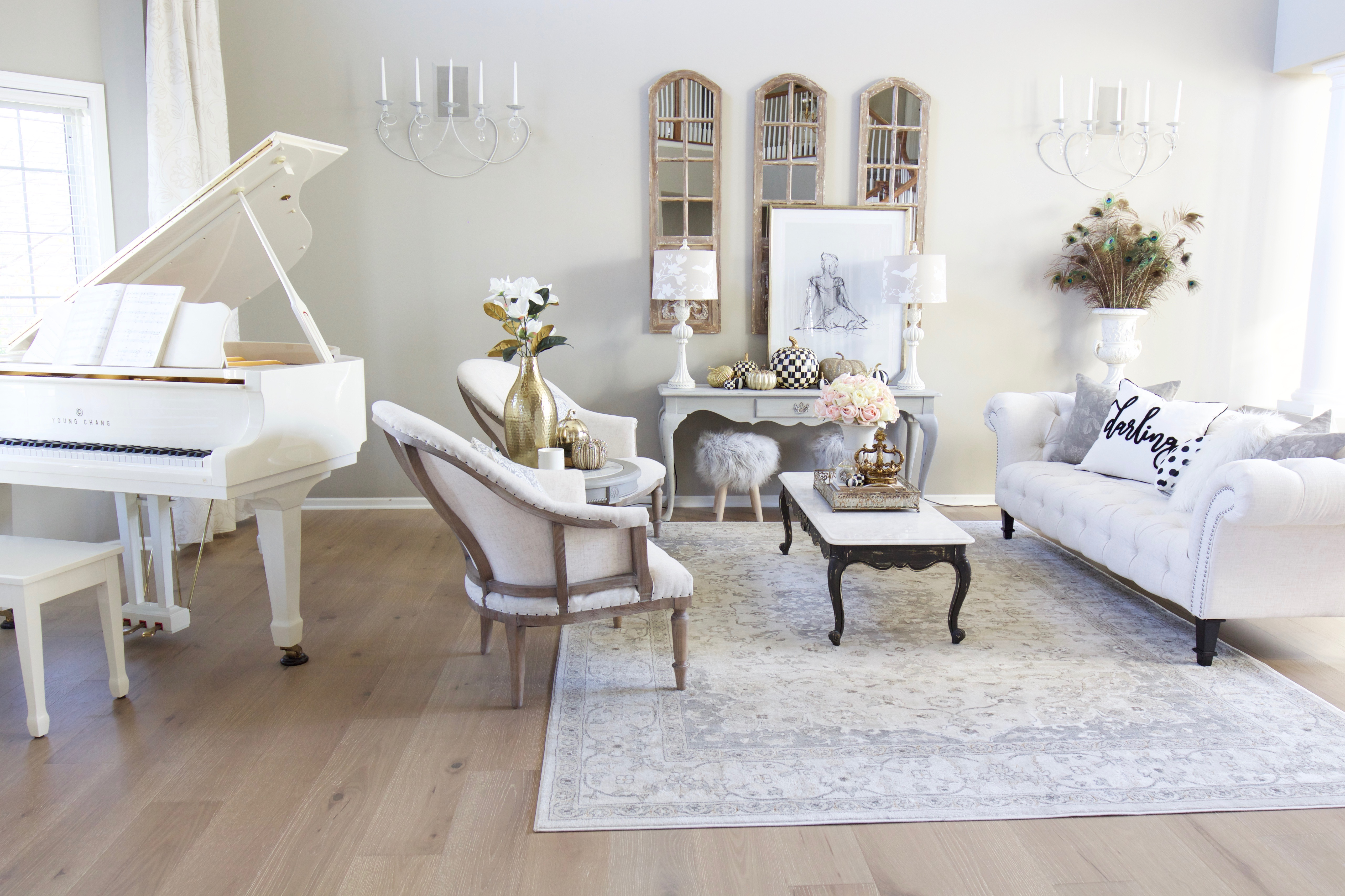 French Glam Living Room Reveal with New Wood Floors - Styled ...
