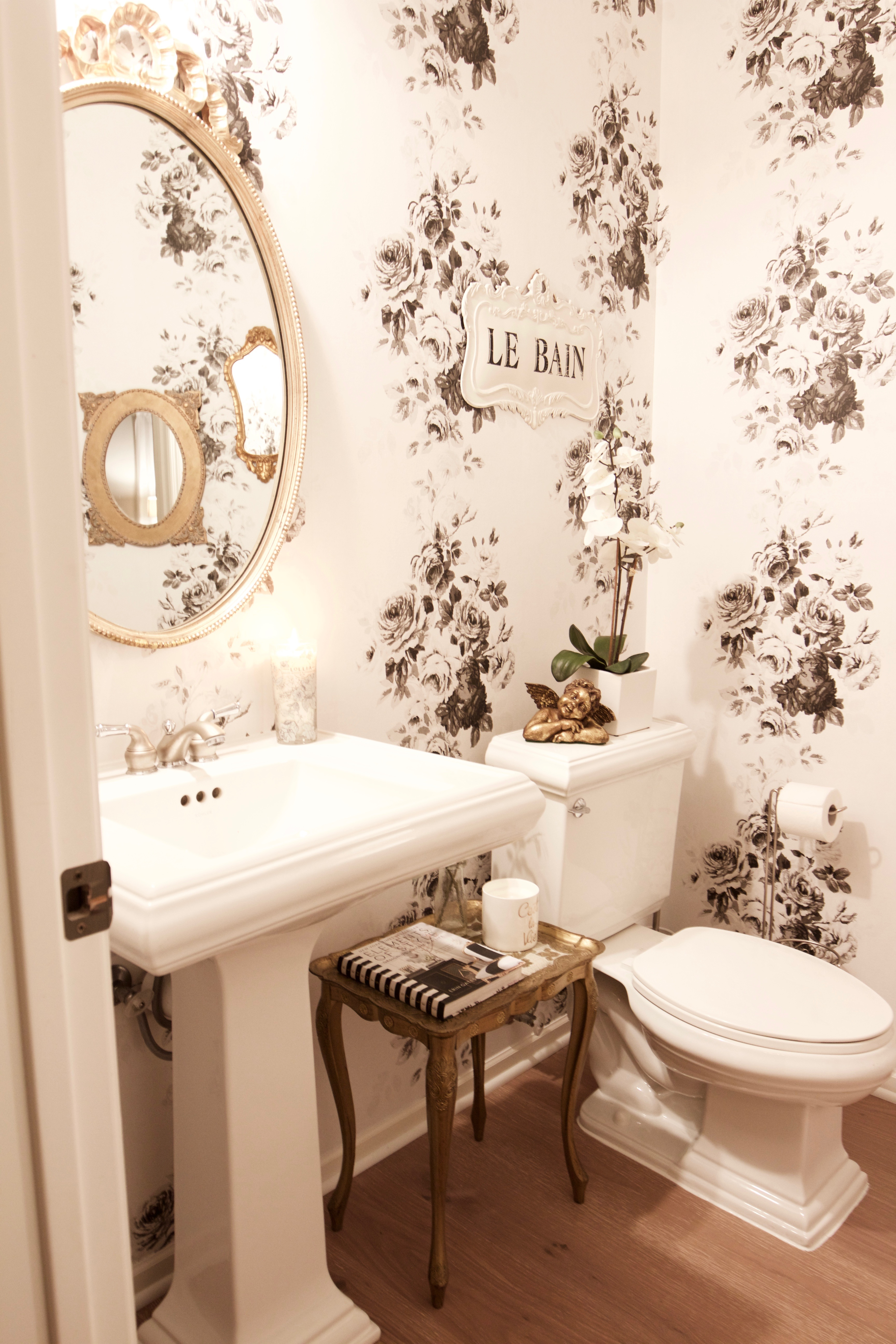 glam vintage powder room makeover