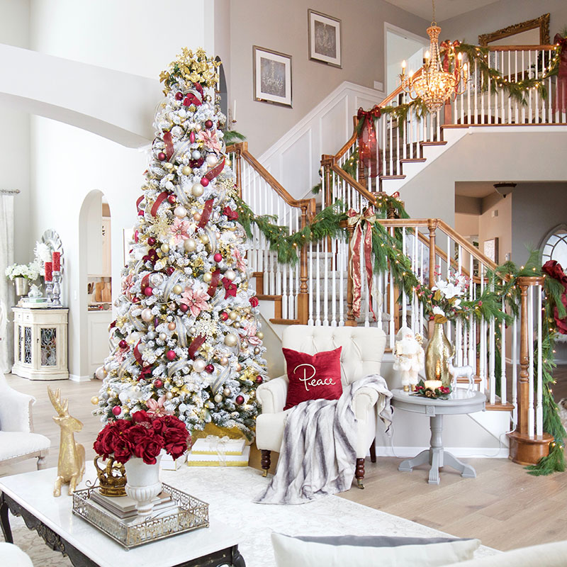 A Burgundy and Blush Christmas Living Room - Styled With Lace