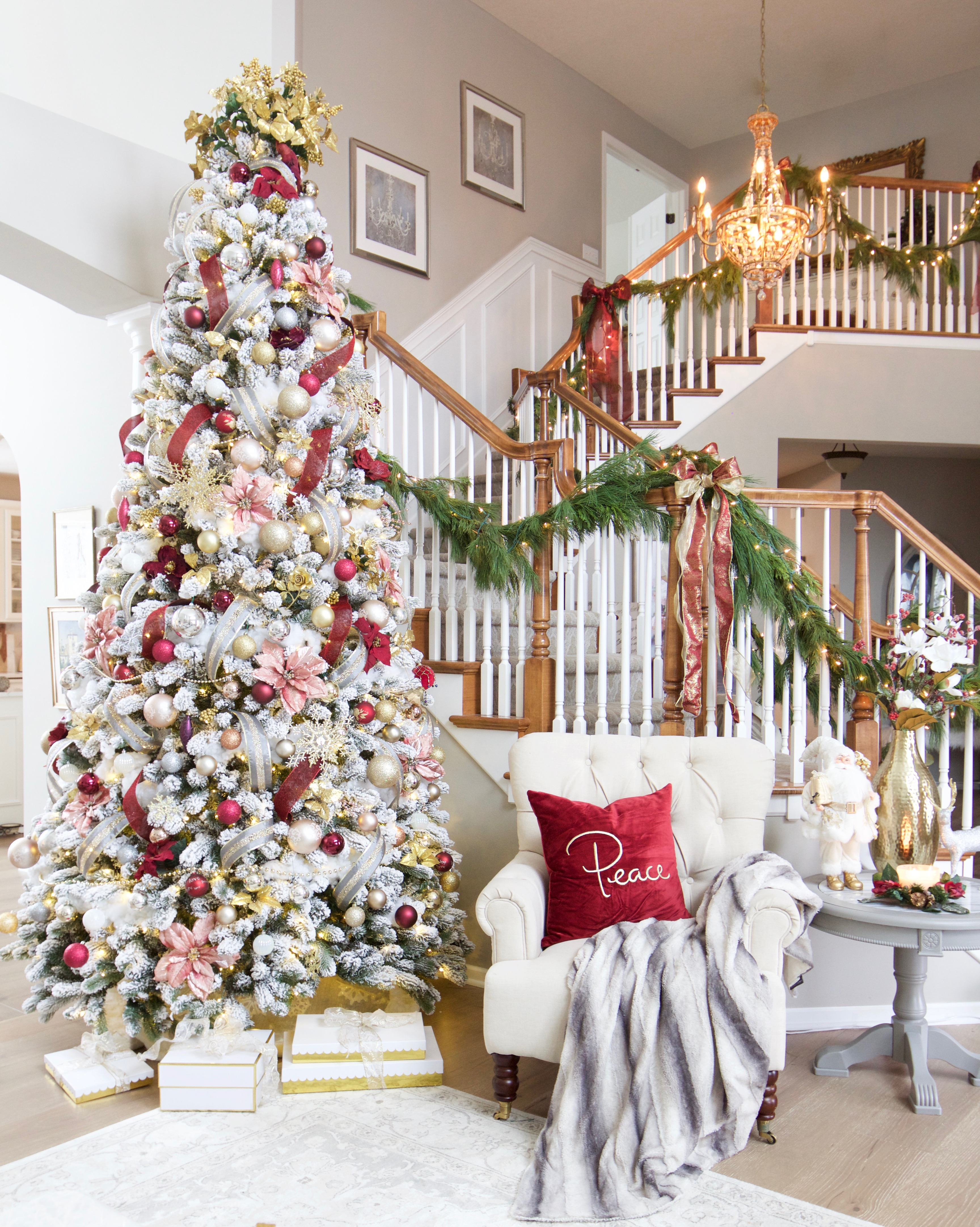 A burgundy and blush christmas living room styled with lace - Christmas tree in living room ...