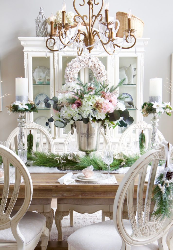 Elegant Christmas Table With Greenery And Pink Floral Centerpiece Styled With Lace