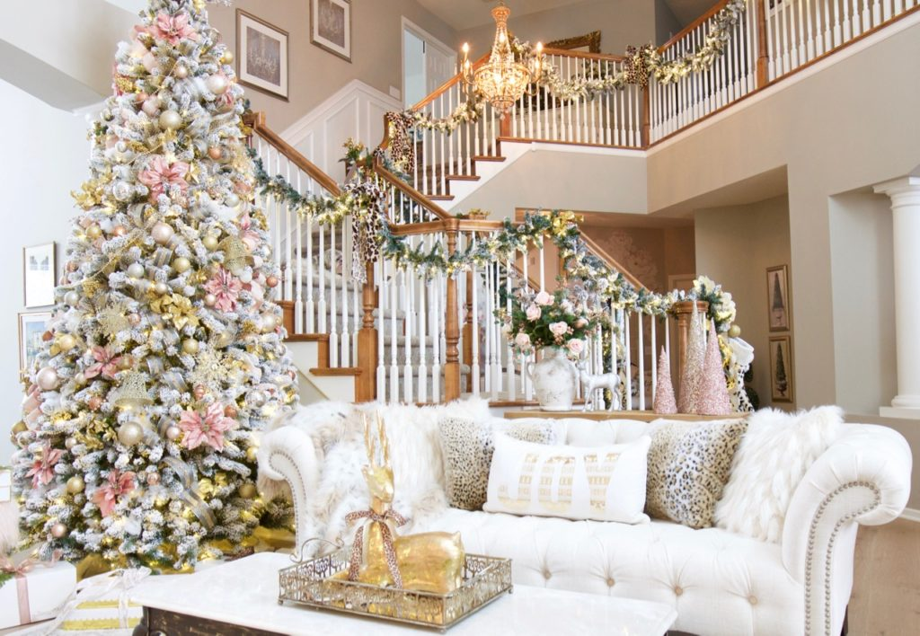 Christmas Living Room With Blush And Leopard Styled With Lace