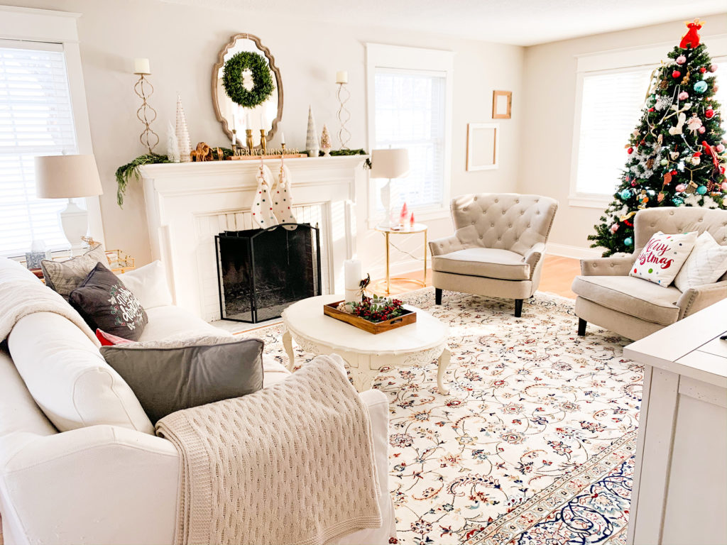 Cozy Christmas Living Room With Unique Loom Rugs Styled With Lace