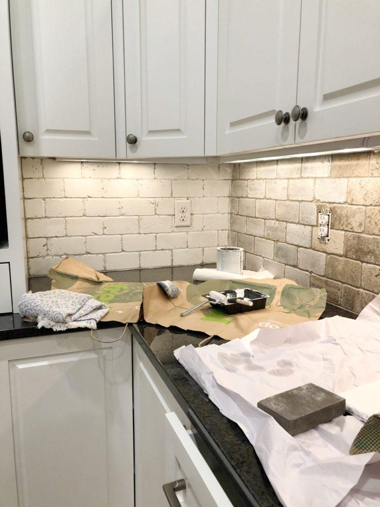 New Lake House Kitchen Makeover Phase 1 Painted Tile Backsplash Styled With Lace
